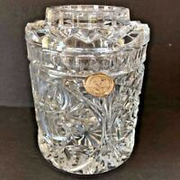 24% Lead Crystal Clear Candy,Sugar,Tea Covered Dish /Jar made in Slovakia