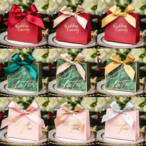 10Pcs Candy Boxes With Ribbon Packaging Bag Gift Box Wedding Party Favors Decor