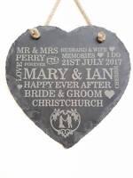 PERSONALISED ENGRAVED WEDDING GIFT PLAQUE SLATE HEART BRIDE & GROOM PRESENT SIGN