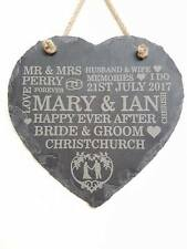 PERSONALISED ENGRAVED WEDDING GIFT PLAQUE SLATE HEART BRIDE & GROOM PRESENT SIGN