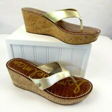 Sam Edelman Romy Gold Cork Wedges Sandals Size 9.5 M Platform Thong Flip Flops