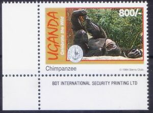 Uganda 1994 MNH Lo corner, Chimpanzee, Monkey, Wild Animals