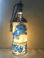 Detroit Lions Inspired Wine Bottle Lamp Hand Painted Lighted Stained Glass look