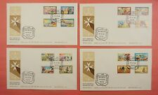 4 FDC 1981 MALTA DEFINITIVE SET #592-607 NICE CACHET