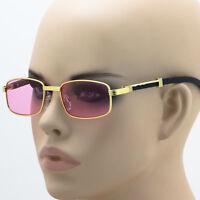 Retro Art Nouveau Wood Style Buffs Rectangular Metal Frame Color Lens Sunglasses