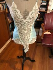Vintage Victorias Secret Teddy Light Blue Gold Label Made in Usa sexy lace trim
