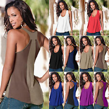 Plus Size Women's Summer Chiffon Vest Top Sleeveless Loose Blouse Tank Tee Shirt