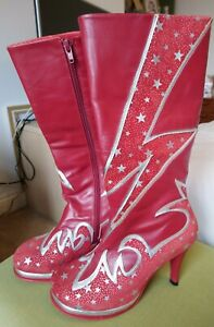 Very Rare Irregular Choice Size 38 (UK 5) Red Bowie Inspired Platform Boots
