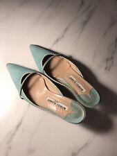 Used Authentic Manolo Blahnik Tiffany Blue Slip On Heels 36