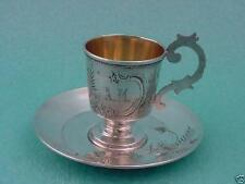 MONOGRAM GREAT CUP SAUCER SILVER 84 INSCRIPTION RUSSIAN IMPERIAL ANTIQUE RUSSIA