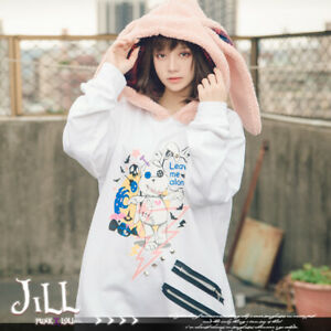 lolita kawaii harajuku rabbitdora bunny ear fleece hood thermal hoodie【JJ2261】