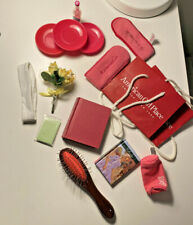 American Girl Doll Red Bag Lot Plate Brush Flower White Headband Glasses Case