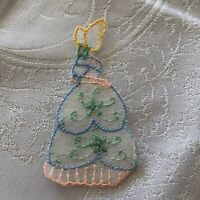 1930s Embroidered Motif Antique Silk Embellishment Crinoline Lady 3 Available