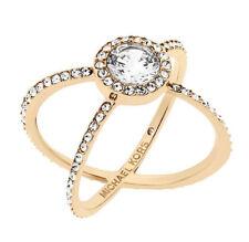 MICHAEL KORS MKJ6008 Modern Brilliance Crystal Pave CrissCross Gold Ring Size 7