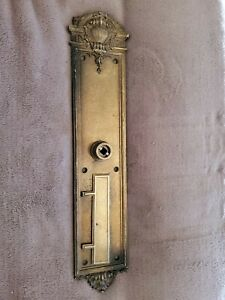"""ANTIQUE C1910 VICTORIAN ORNATE LARGE 17.5"""" DOOR KNOB FACE PLATE WITH MAIL SLOT"""