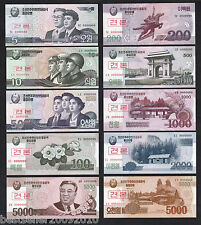 KOREA SPECIMEN SET OF 10 UNC BANK NOTES # K10