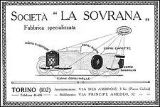 PUBBLICITA' 1927 LA SOVRANA GUAINA PER MOLLE BALESTRE AUTO ACCESSORI TORINO
