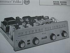 DAVID BOGEN RR550 TUNER RECEIVER PHOTOFACT PHOTOFACTS