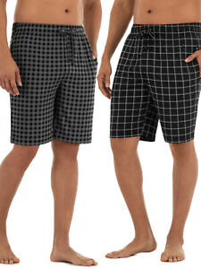 NEW MENS FRUIT OF THE LOOM BEYOND SOFT PLAID JOGGER SLEEP LOUNGE SHORTS 2 PACK