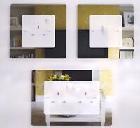 X 6 SINGLE x4 DOUBLE LIGHT SWITCH SURROUND MIRROR ACRYLIC PERSPEX FINGER PLATE