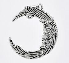 2 Pcs Antique Silver Moon Charm Pendants 38x32mm LC1424