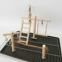 Bird Cage Budgies Stand Playground Wood Pet Toys Parrot Climbing Ladder Chew
