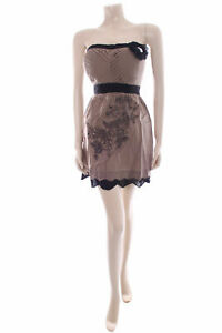 Cotton Summer Dress Size S UK 8 EMAMODA Strapless Brown Floral Outfit