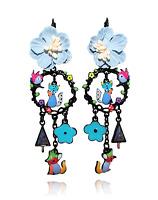 Lol Bijoux - Boucles d'Oreilles Corbeau et Renard - Bleu