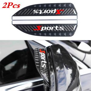 2x Carbon Fiber Rain Board Eyebrow Guard Sun Visor For Car Side Rear View Mirror