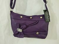 Purple Handbag With Bow Studs & Bling Crossbody Medium Size NWT