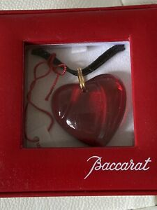 Baccarat Crystal Red Heart Pendant  Necklace Boxed