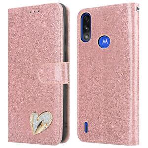 For Motorola Moto E7i Power Case Glitter Flip Wallet Cover for E7i Power Phone