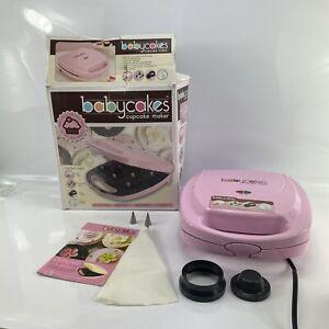 Babycakes Cupcake Maker 8 Non-stick Spots Pink CC-2828 w/ Icing Bag Crust Tools