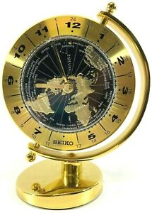 Seiko World Time Table Clock Brass Case with Gimbaled Design QHG106GLH Excellent