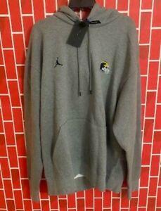 Air Jordan Michigan Wolverines Football Gray Sweatshirt CU3720-091 Size 4XL-TALL