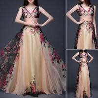 Elegant! Women Long Chiffon Evening Party Formal Cocktail Flower Prom Dress Gown