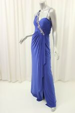 LM COLLECTION Royal Blue Beaded Embellished Gown Dress 2 $328