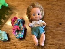 Vintage 1973 Sunshine Family Baby Doll W/ Clothes & 1974 Cradle Mattel