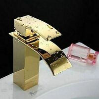 Deck Mount Bathroom Golden Basin Faucet Lavatory Vessel Sink Mixer Brass Taps