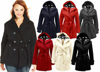 New Ladies Girls Belted Hooded Fleece Coat Womens Plus Size Jacket Top Size 8-20