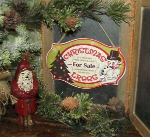 Primitive Antique Vtg Style Snowman Christmas Tree Lot Sign