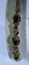 "Sterling Silver Vermeil Sapphire And Diamond Bracelet. 7"". Free S&H."