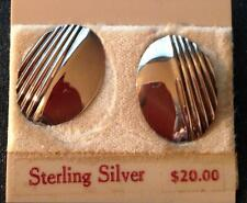 Sterling Silver CURVED LINEAR OVAL EARRINGS STORE CLOSEOUT