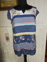 Tunique petite manches coton bleu rayé et fleurs TERRE DE MARINS 42
