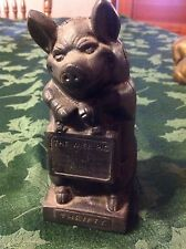 THRIFTY THE WISE PIG CAST IRON BANK