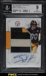 2017 National Treasures Holo Silver T.J. Watt ROOKIE RC PATCH AUTO /25 BGS 9 MT
