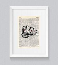 Amor Odio Puño Tatuaje Dedo Nudillo Vintage Arte de la pared de impresión de libro diccionario