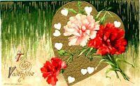 1910 JOHN WINSCH To My Valentine Postcard Heart Carnation Gilt Embossed Vtg Love