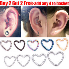 Surgical Steel Heart Helix Cartilage Ring Hoop Tragus Daith Ring Hoop Earring