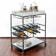 Wine Serving Cart Portable Grey Hold 10 Bottles New Free Shipping